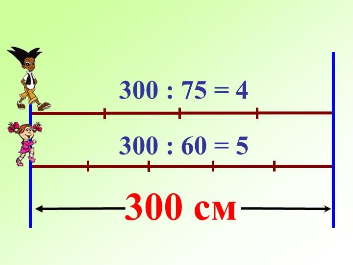 300 см300 : 75 = 4300 : 60 = 5
