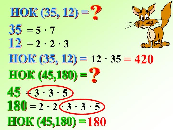 НОК (35, 12) =?3512= 5 · 7= 2 · 2 · 3НОК (35, 12) =12 · 35= 420НОК (45,180) =...