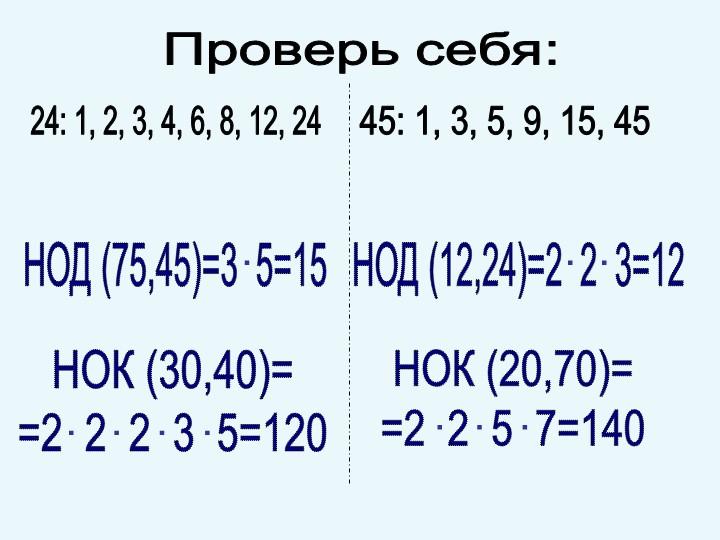 Проверь себя:НОД (75,45)=3  5=1524: 1, 2, 3, 4, 6, 8, 12, 2445: 1, 3, 5, 9, 1...