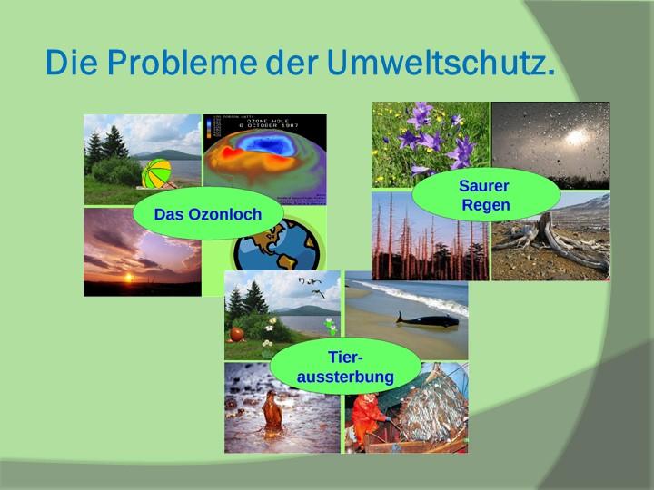 Die Probleme der Umweltschutz.