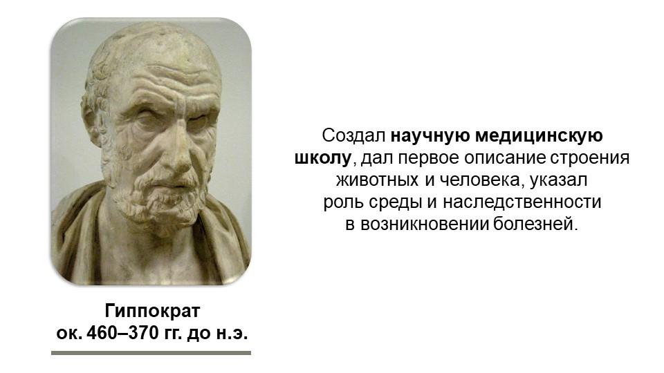 Гиппократок. 460–370 гг. до н.э.Создал научную медицинскую школу, дал первое...