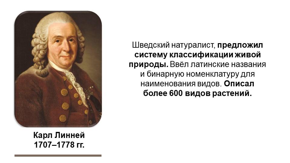 Карл Линней1707–1778 гг.Шведский натуралист, предложил систему классификации...
