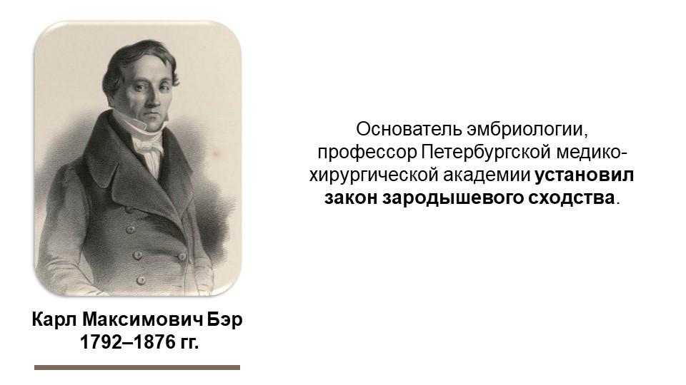 Карл Максимович Бэр 1792–1876 гг.Основатель эмбриологии, профессор Петербург...