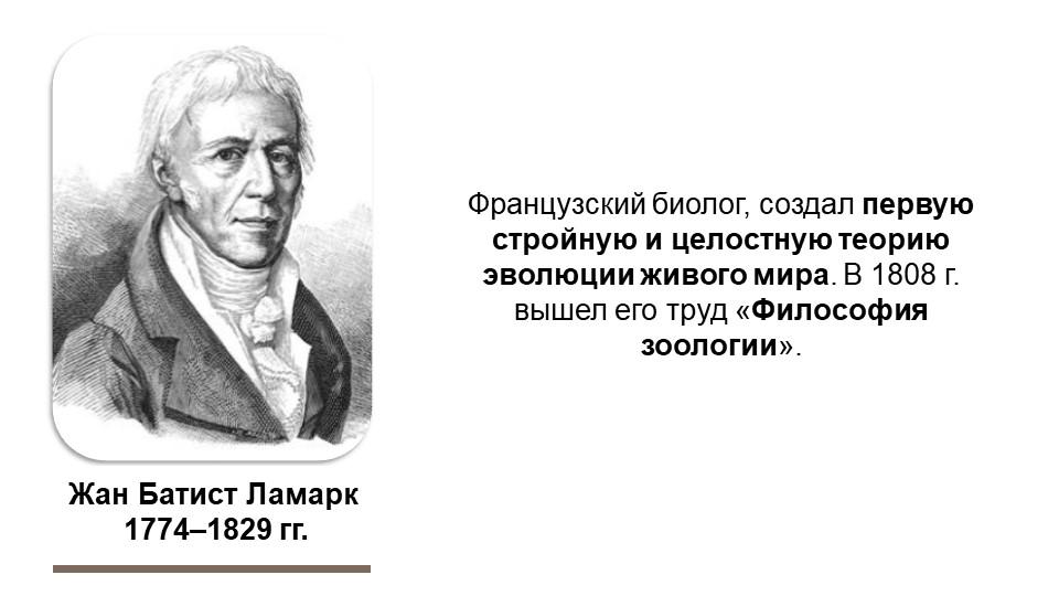 Жан Батист Ламарк 1774–1829 гг.Французский биолог, создал первую стройную и...