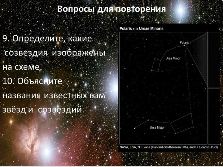 Вопросы для повторения9. Определите, какие созвездия  изображены на схеме....