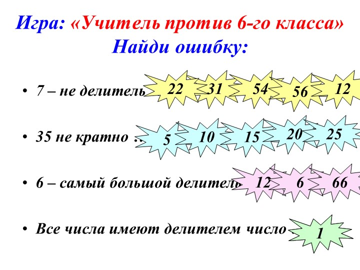 Игра: «Учитель против 6-го класса»Найди ошибку:7 – не делитель …35 не крат...
