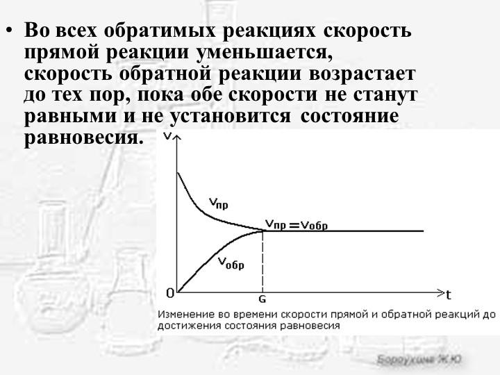 Во всех обратимых реакциях скорость прямой реакции уменьшается, скорость обра...