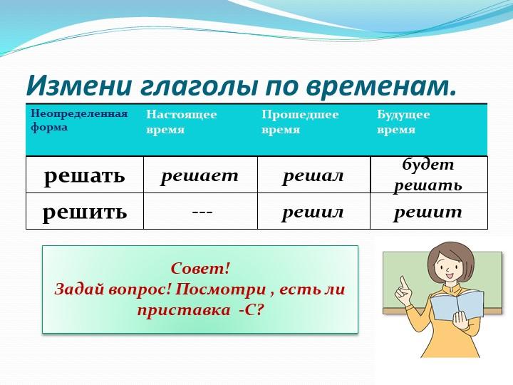 Измени глаголы по временам.решатьрешаетрешалбудет решатьрешить ---решилрешитС...