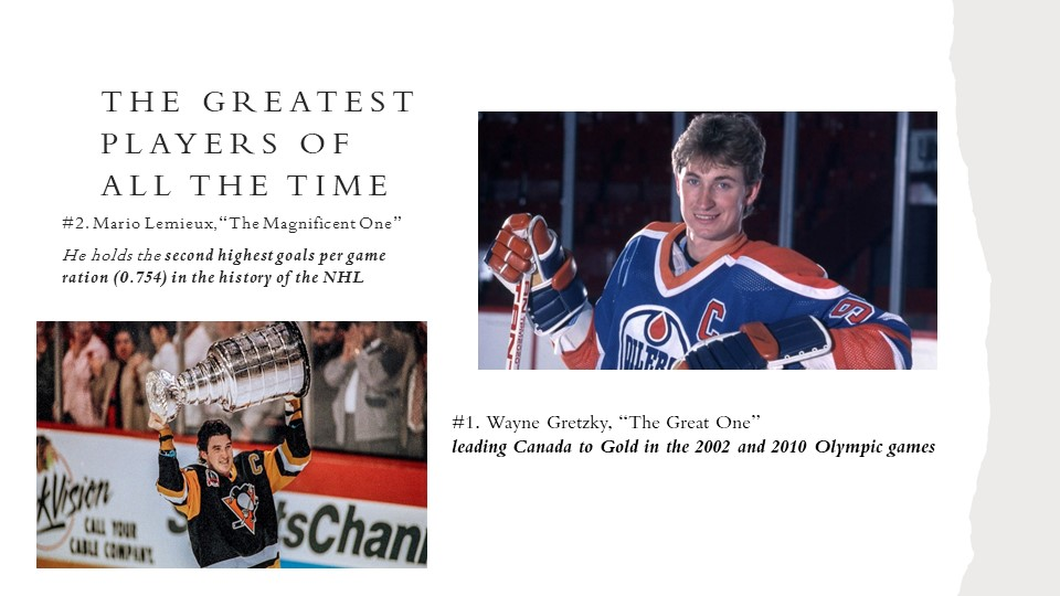 "The greatest players of all the time#2. Mario Lemieux, ""The Magnificent One""..."