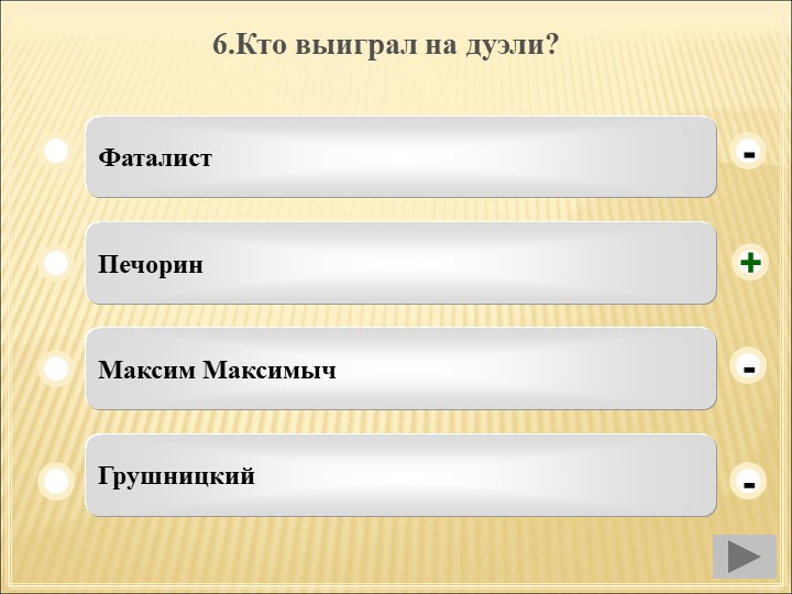 6.Кто выиграл на дуэли? ФаталистПечоринМаксим МаксимычГрушницкий--+-