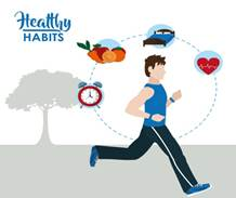 Healthy habits lifestyle Royalty Free Vector Image