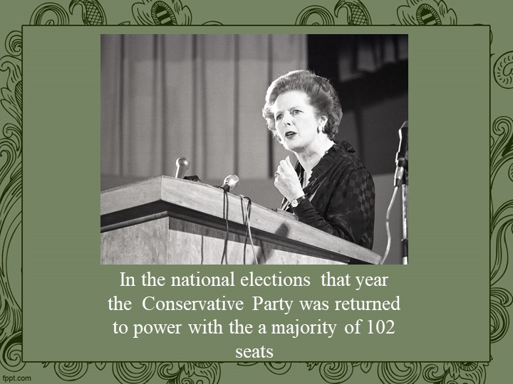 In the national elections  that year the  Conservative Party was returned to...