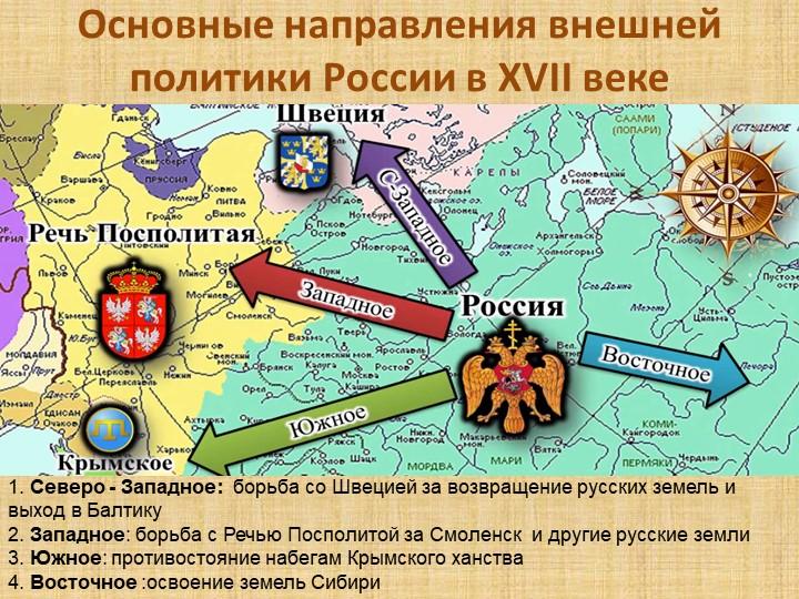 Основные направления внешней политики России в XVII веке в1. Северо - Западно...