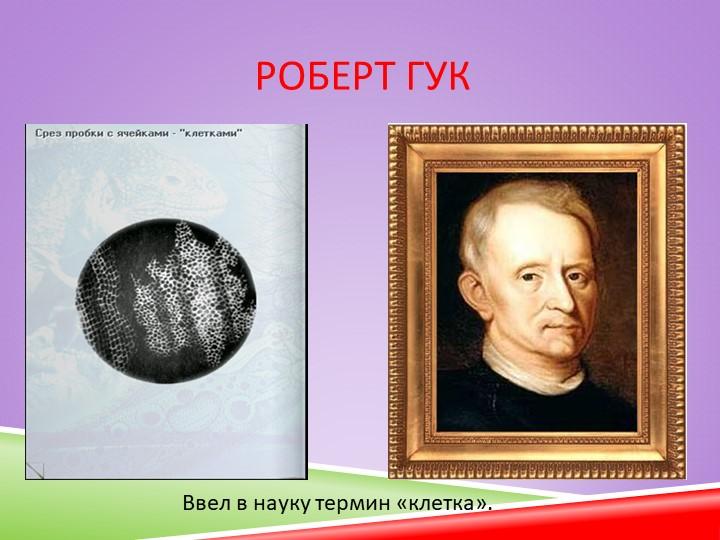 Роберт ГукВвел в науку термин «клетка».
