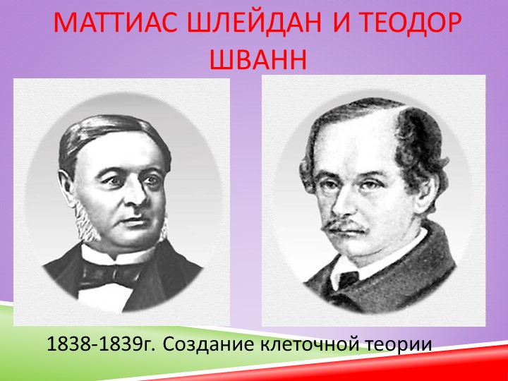 Маттиас Шлейдан и Теодор Шванн1838-1839г. Создание клеточной теории