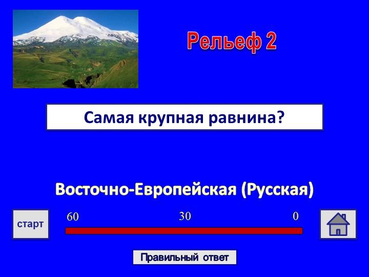 Восточно-Европейская (Русская)Самая крупная равнина?Рельеф 203060стартПравиль...