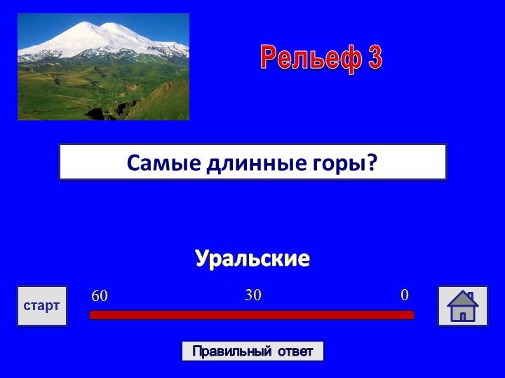 УральскиеСамые длинные горы?Рельеф 303060стартПравильный ответ