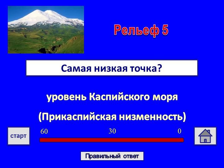 уровень Каспийского моря(Прикаспийская низменность) Самая низкая точка?Релье...