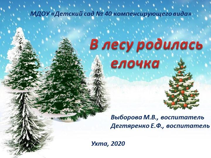 В лесу родилась елочкаМДОУ «Детский сад № 40 компенсирующего вида»Выборова...