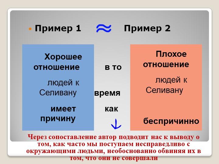 Пример 1         Пример 2Через сопоставление автор подводит нас к...