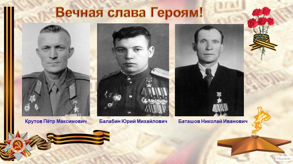 Вечная слава Героям!Крутов Пётр Максимович         Балабин Юрий Михайлович...