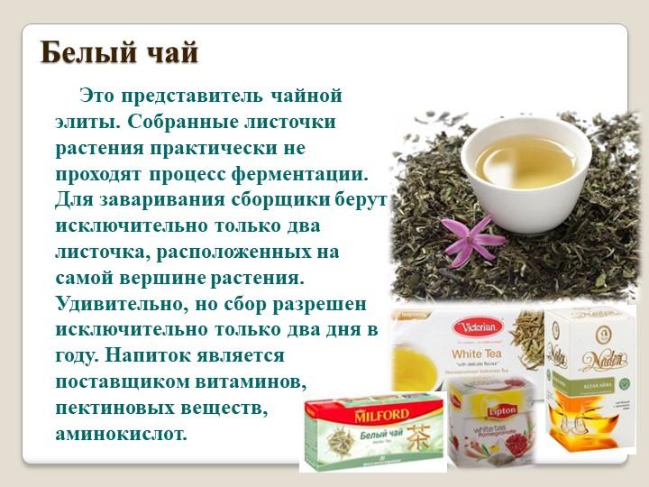 Белый чай        Это представитель чайной элиты. Собранные листочки растения...