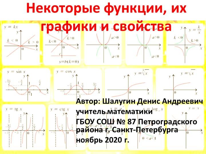 Некоторые функции, их графики и свойстваАвтор: Шалугин Денис Андреевичучител...