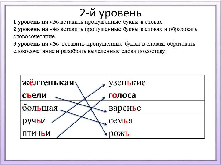 2-й уровень1 уровень на «3» вставить пропущенные буквы в словах2 уровень на...