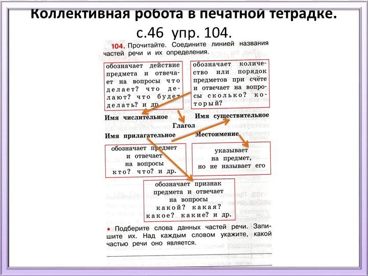 Коллективная робота в печатной тетрадке. с.46  упр. 104.