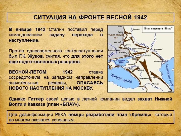 СИТУАЦИЯ НА ФРОНТЕ ВЕСНОЙ 1942В январе 1942 Сталин поставил перед командовани...