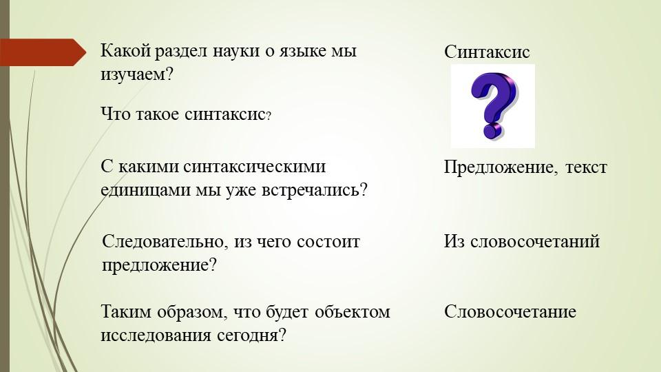 Какой раздел науки о языке мы изучаем? СинтаксисЧто такое синтаксис?С какими...