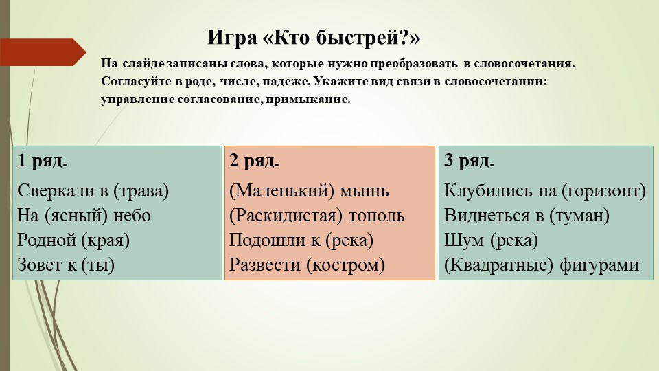 Игра «Кто быстрей?»На слайде записаны слова, которые нужно преобразовать в сл...
