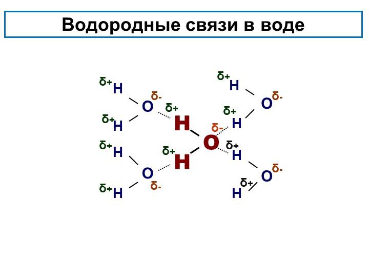 Водородные связи в водеОННООНННННННОНОδ+δ+δ+δ+δ+ δ+δ-δ-δ-δ+δ+δ+δ+δ-δ-