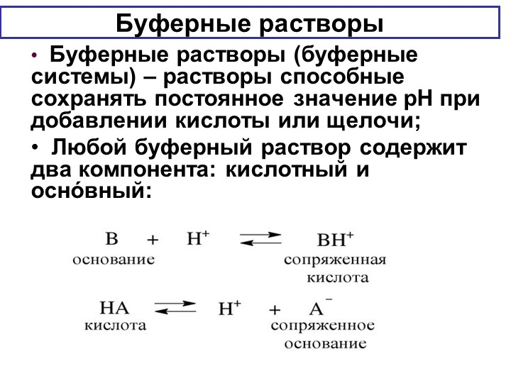 Буферные растворы  Буферные растворы (буферные системы) – растворы способные...