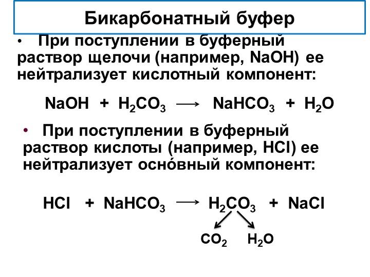 При поступлении в буферный раствор щелочи (например, NaOH) ее нейтрализуе...