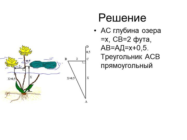 РешениеАС глубина озера =х, СВ=2 фута, АВ=АД=х+0,5. Треугол...