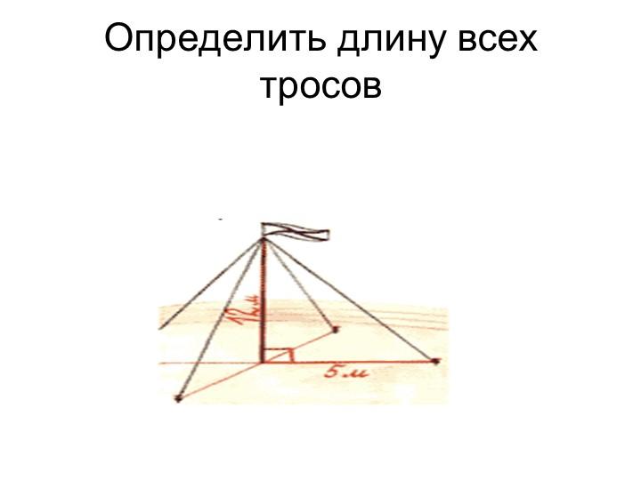 Определить длину всех тросов