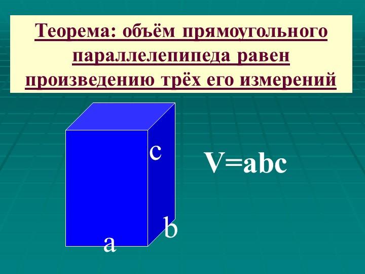 саbV=abcТеорема: объём прямоугольного параллелепипеда равен произведению трёх...