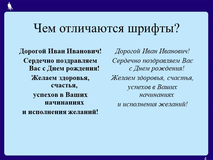 Чем отличаются шрифты?4Дорогой Иван Иванович!Сердечно поздравляем Вас с Днем...