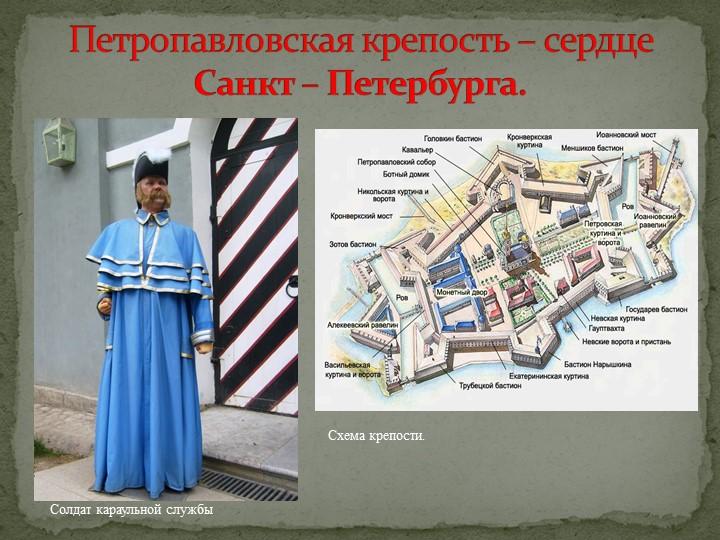 Петропавловская крепость – сердце Санкт – Петербурга.Схема крепости.Солдат ка...