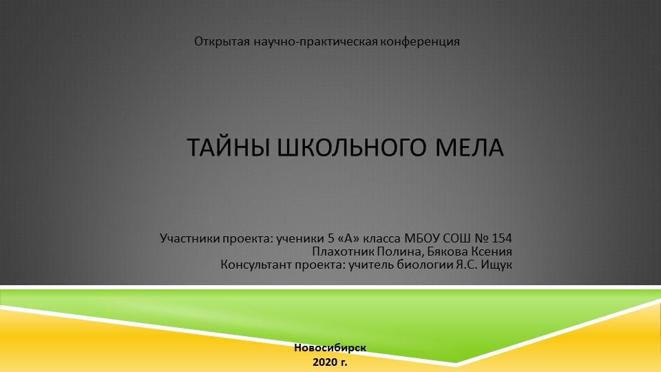 Открытая научно-практическая конференцияТайны школьного мелаУчастники проекта...