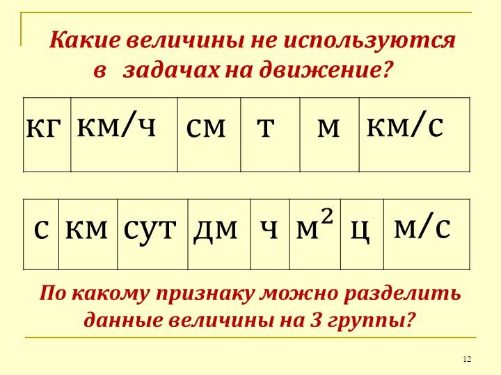 Какие величины не используются            в   задачах на движение?кгкм/чс...