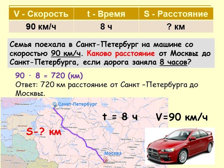 V=90 км/чS-? км90 ∙ 8 = 720 (км)Ответ: 720 км расстояние от Санкт –Петербург...