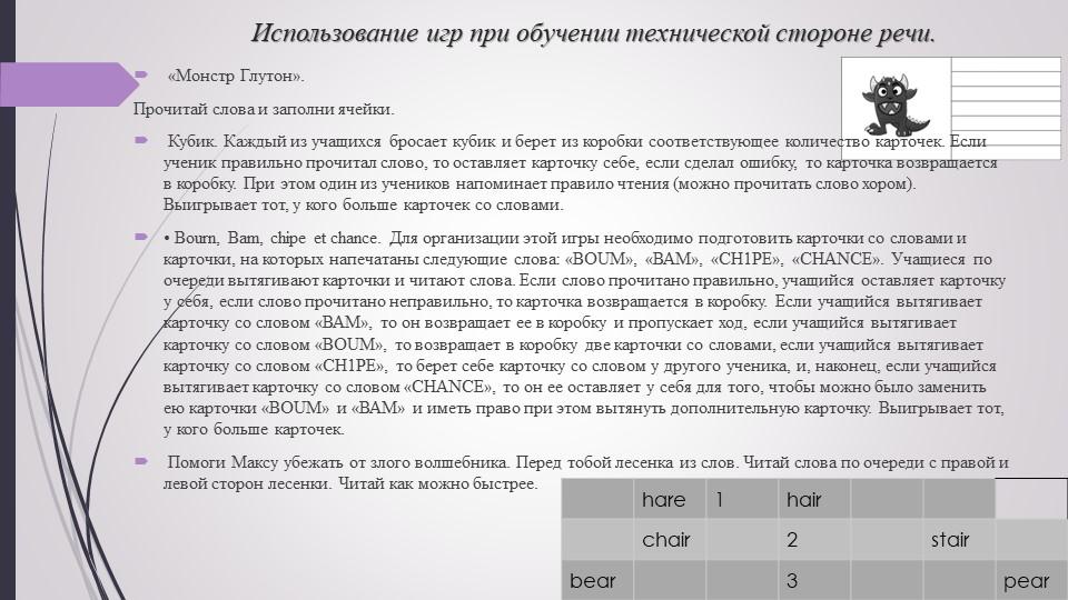 Использование игр при обучении технической стороне речи. «Монстр Глутон». Пр...