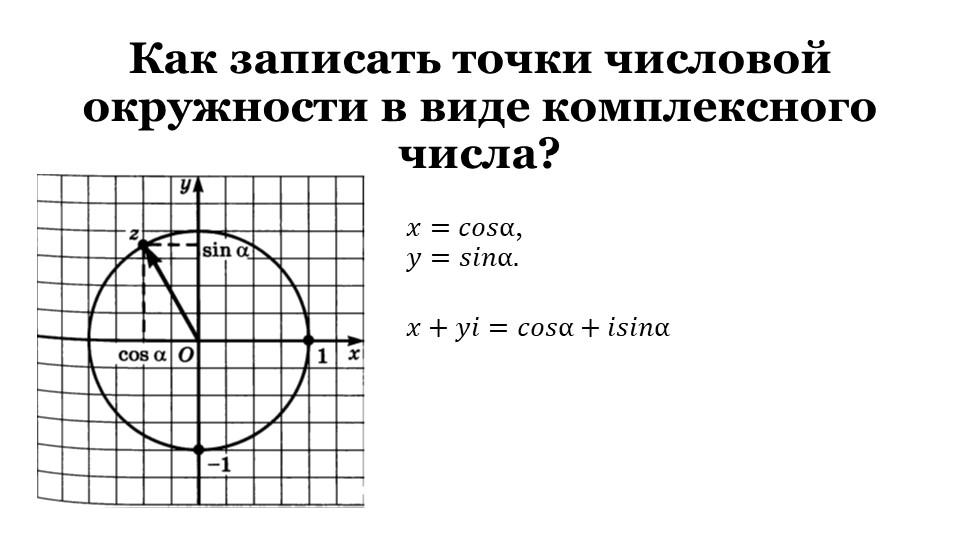 Как записать точки числовой окружности в виде комплексного числа?𝑥=𝑐𝑜𝑠α,𝑦=𝑠𝑖...
