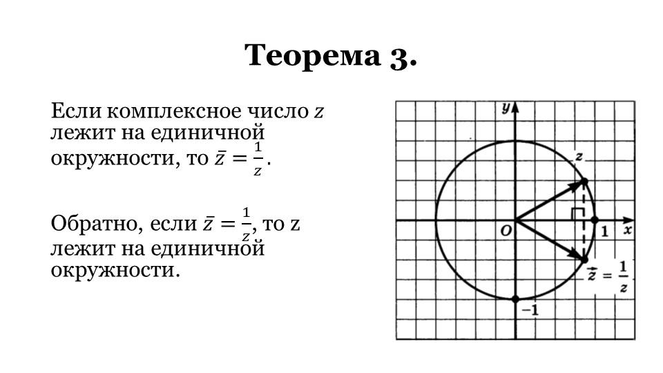 Теорема 3.Если комплексное число 𝑧 лежит на единичной окружности, то  𝑧 = 1 𝑧...