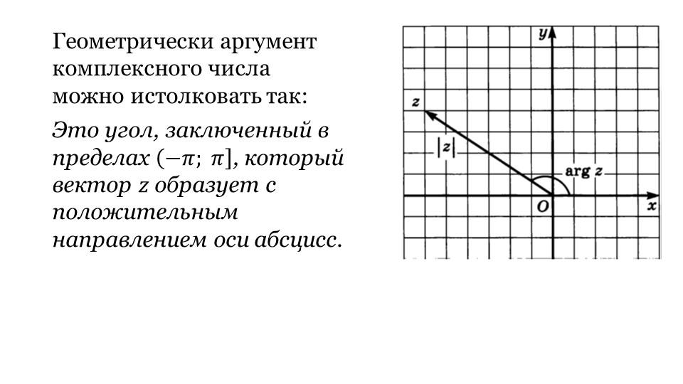 Геометрически аргумент комплексного числа можно истолковать так:Это угол, за...