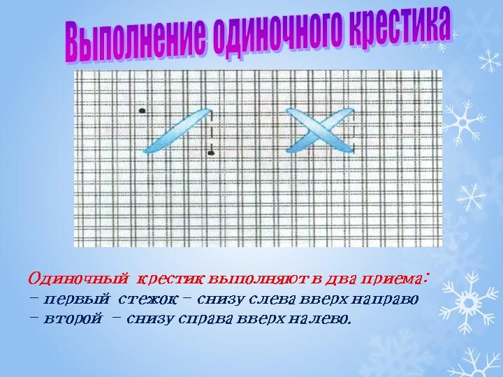 Одиночный крестик выполняют в два приема:- первый стежок - снизу слева вверх...