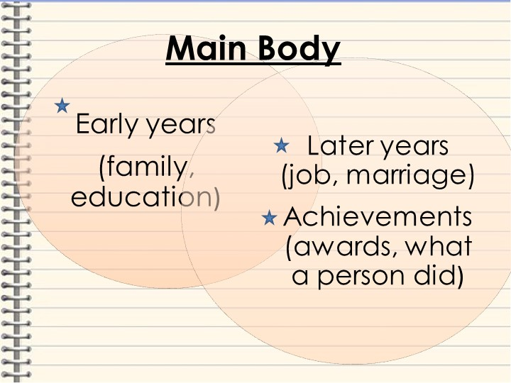 Early years(family, education)Later years (job, marriage)Achievements (awar...