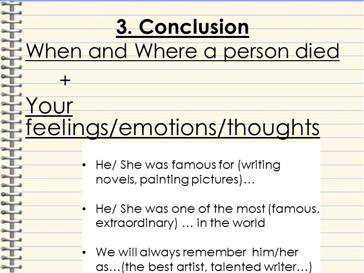3. ConclusionWhen and Where a person died      +...
